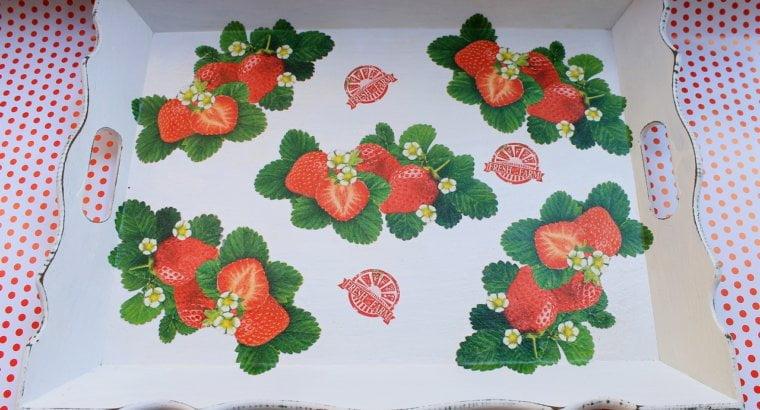 Винтажный поднос деревянный декоративный «Турецкая черешня», «Турецкая клубника»