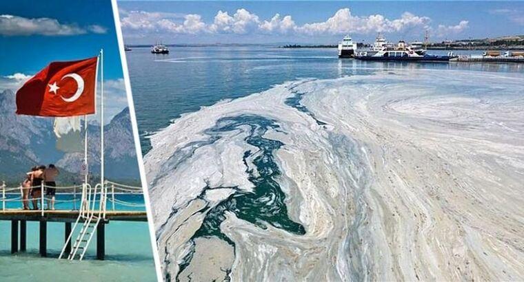 Катастрофа на пляжах Турции: морская слизь начала менять цвет воды на серый, убивая всю живность